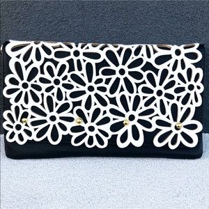 Textured Clutch With Stylish Black And White